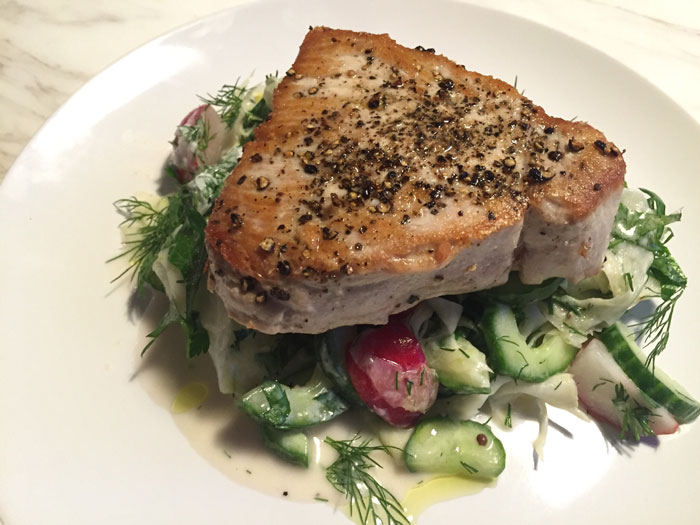 Seared Tuna Steak with Cucumber Radish and Fennel Salad Ready Dish